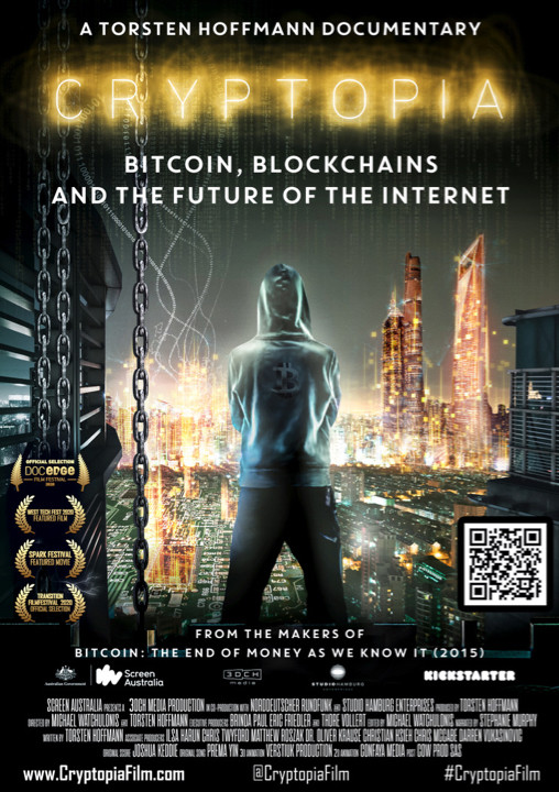 film poster of documentary on crypto currency. a man standing in front of window looking over skyline of city at night