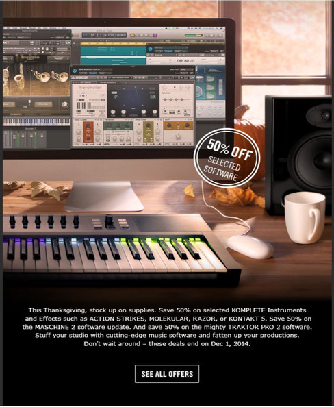 Product advertising for music software Native Instruments showing a computer with interface