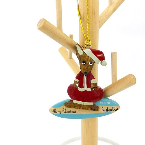Surfing kangaroo / wooden Christmas ornament