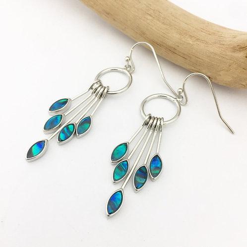 Marine Opal - Paua-Shell / Leaf Drop Earrings HFMOE145