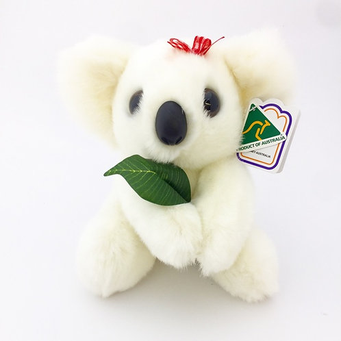 Australian Made / White koala with gumleaf soft toy