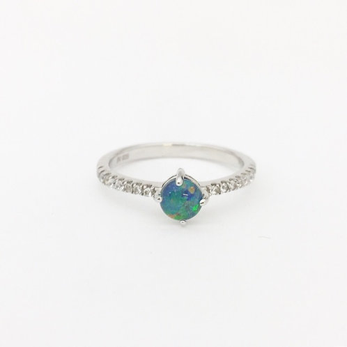 Triplet opal with CZ Ring set in 925 sterling silver / size 7