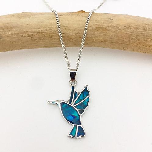 Marine Opal - Paua-Shell / Hummingbird pendant