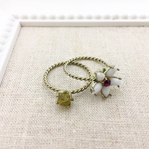 Les Nereides / Flower set of 2 rings