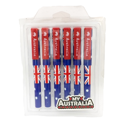 Australian flag pens / pack of 6