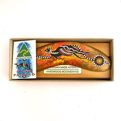 Hand Painted Kangaroo Boomerang & stand set   Australian Made