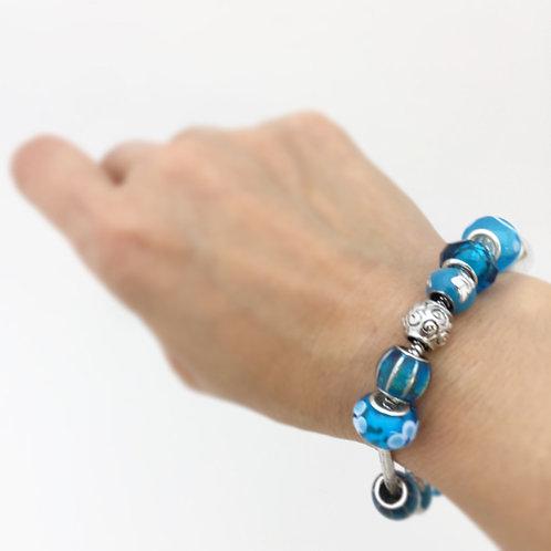 Marine Opal - Paua -Shell / Charm bracelet