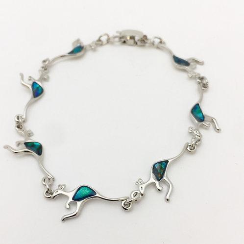 Marine Opal - Paua-Shell / Kangaroo bracelet