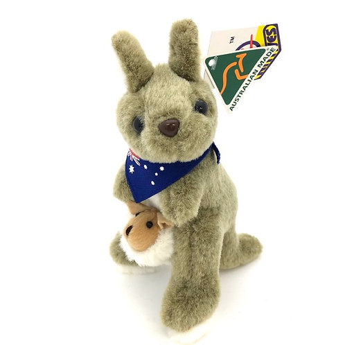 Australian Made / Kangaroo with joey and bandana soft toy ( S )