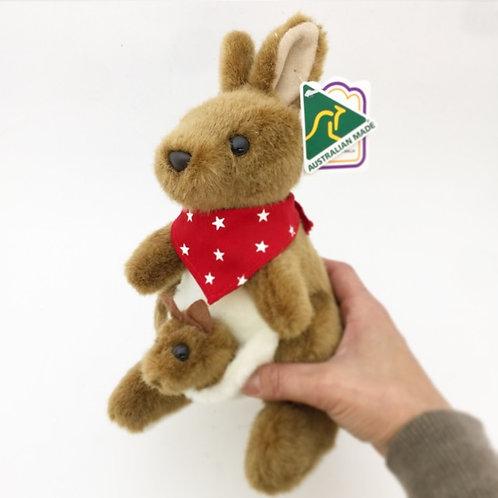 Australian Made / Kangaroo and Joey with Red Bandana ( M ) 24cm