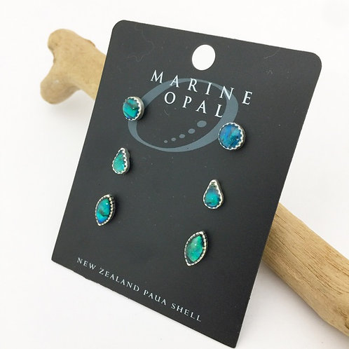 Marine Opal - Paua Shell / set of 3 earrings