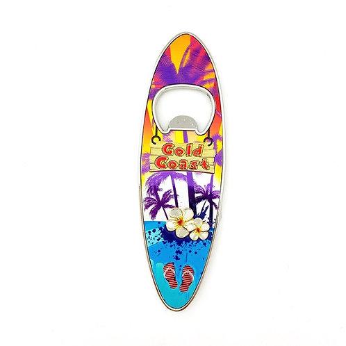 Gold Coast Bottle Opener Magnet / Surfboard