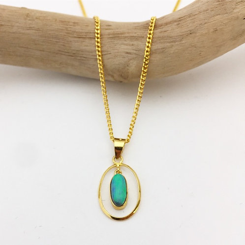 Solid Black Opal Pendant set in 18k gold / P3824