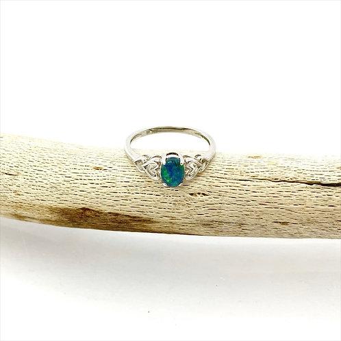 Triplet opal ring set in 925 sterling silver / M3R003