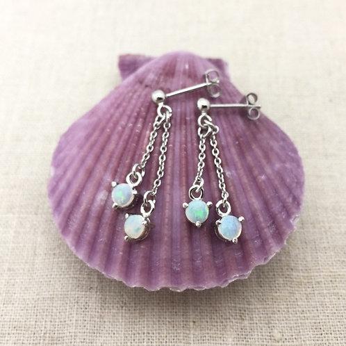 White Opal drop earrings set in 925 sterling silver / M3AE09