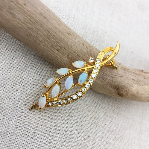 White Opal with gold plated brooch / leaf