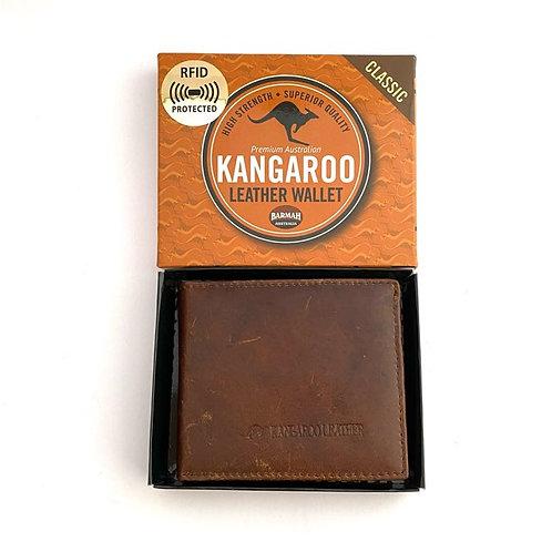 kangaroo Leather Fold Wallet |Hickory