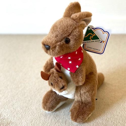 Australian Made / Kangaroo and Joey with Red Bandana ( L ) 29cm