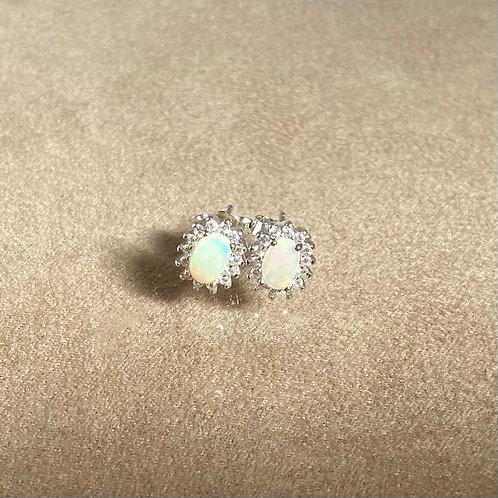 White opal earrings set in 925 sterling silver