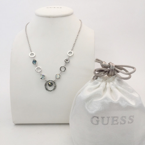 Guess hypnotic stone necklace in silver and blue tones fileg mozeypictures Choice Image