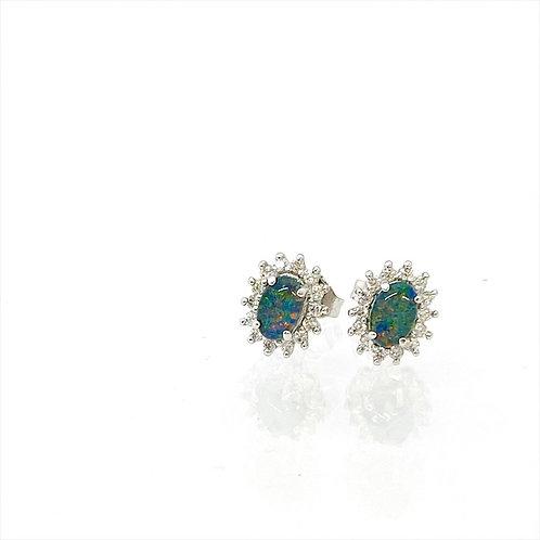 Triplet Opal earrings set in 925 sterling silver / M3SE208