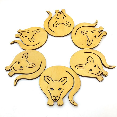 Australian Made / Set of 6 Wooden Coasters / kangaroo