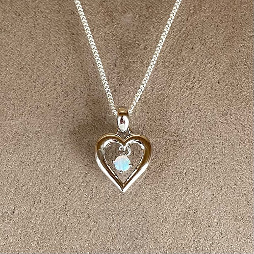 White opal pendant set in 925 sterling silver with 925 silver chain / M3SP11