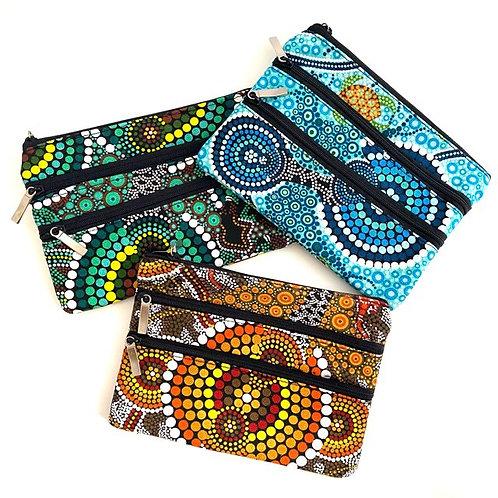 3 Zip Cotton Canvas Cosmetic Bag | Colin Jones
