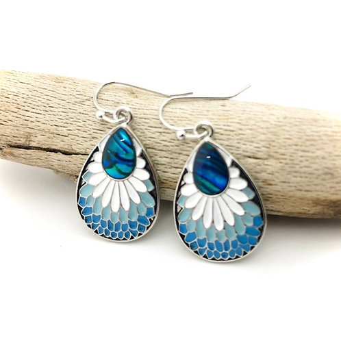 Marine Opal - Paua-Shell / Feather Earrings