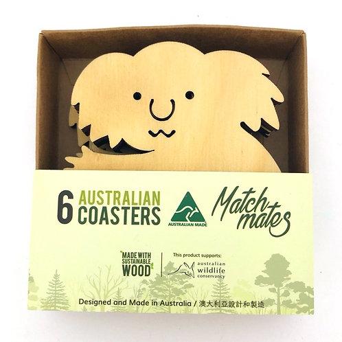 Set of 6 Wooden Koala Coasters | Made in Australia