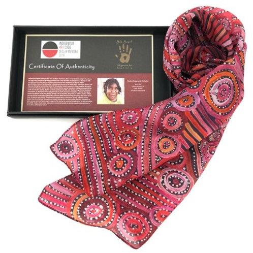 Aboriginal Artist Pauline Gallagher / 100% Silk Scarf with box / Red