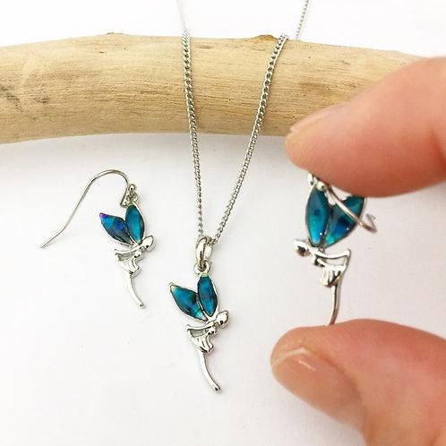 Marine Opal - Paua Shell / Fairy Pendant and Earrings