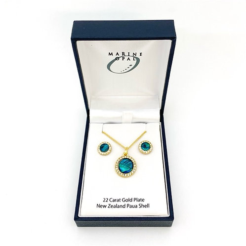 Marine Opal - Paua-Shell / Pendant and Earrings set / 22 Carat Gold Plate