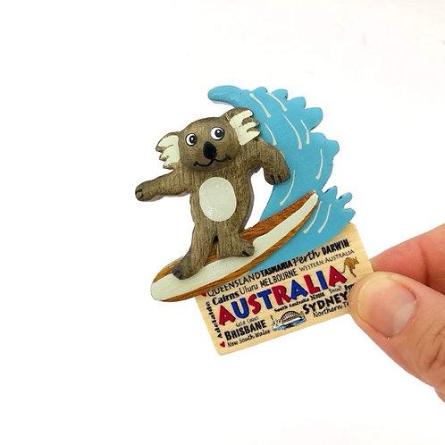 Surfing koala wooden magnet