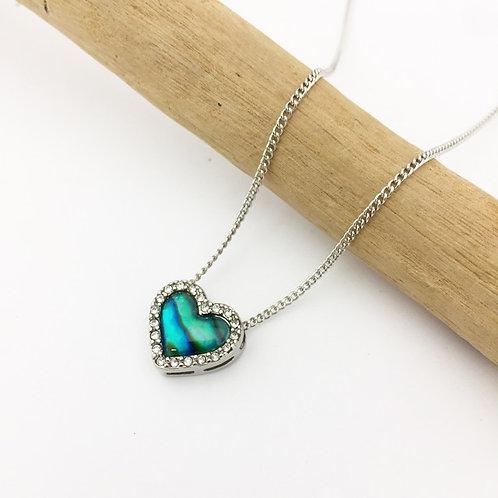 Marine Opal Paua-Shell / Heart Pendant