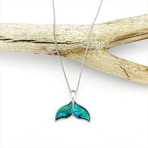 Marine Opal - Paua-Shell / Whale tail pendant / HFPJS196