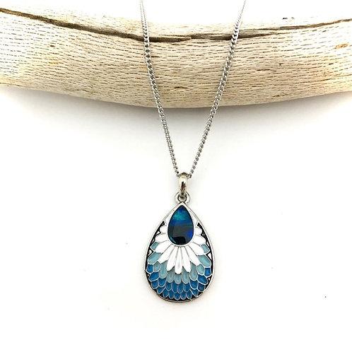 Marine Opal - Paua-Shell / Feather pendant