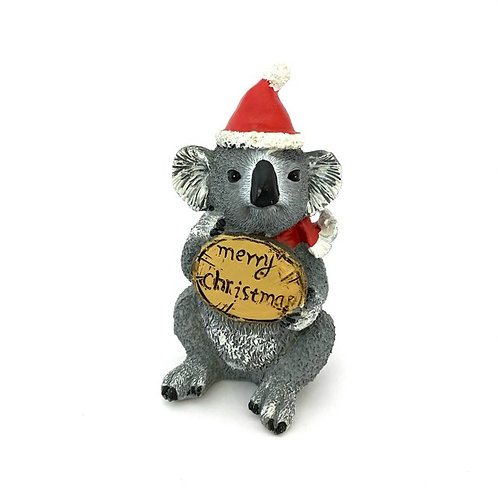 Christmas Figure / Koala with Sign Merry Christmas