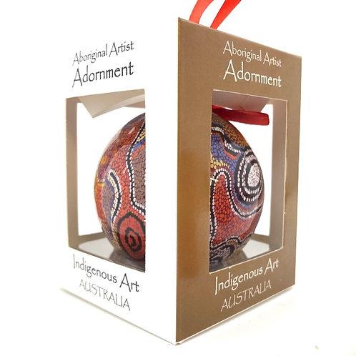 Aboriginal Artist Otto Jungarrayi Sims / Christmas Bauble with box / Orange