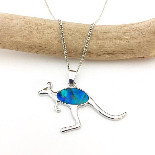 Marine Opal - Paua-Shell / Kangaroo pendant