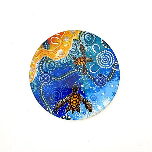 Aboriginal Artist Chernee Sutton | Ceramic Coaster | Turtle