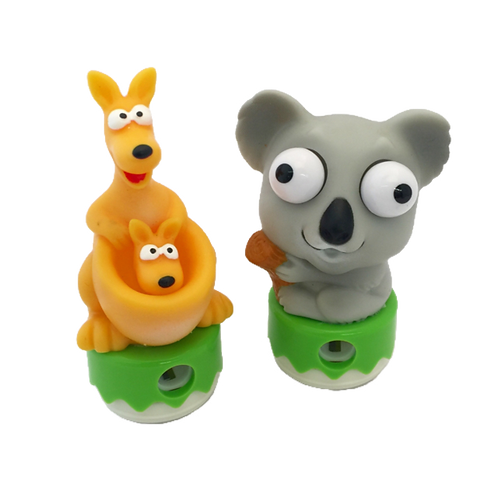 Set of 2 / Pop eyed pencil sharpener / kangaroo and  koala