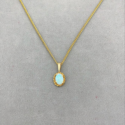White opal pendant set in 18k white gold with gold plated chain / M3GP50