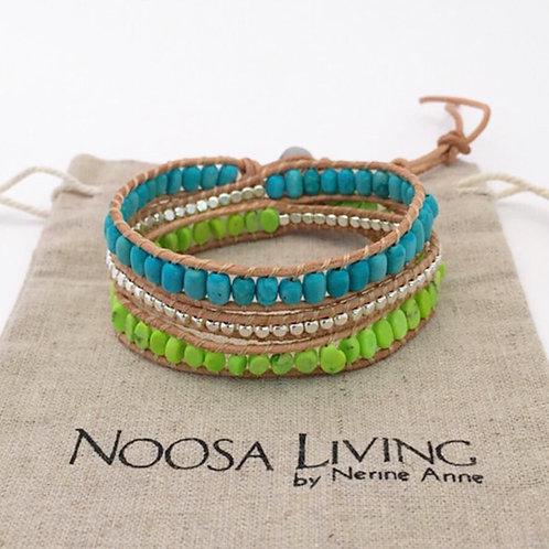 3 wrap bracelet / Lime & Turquoise on Tan