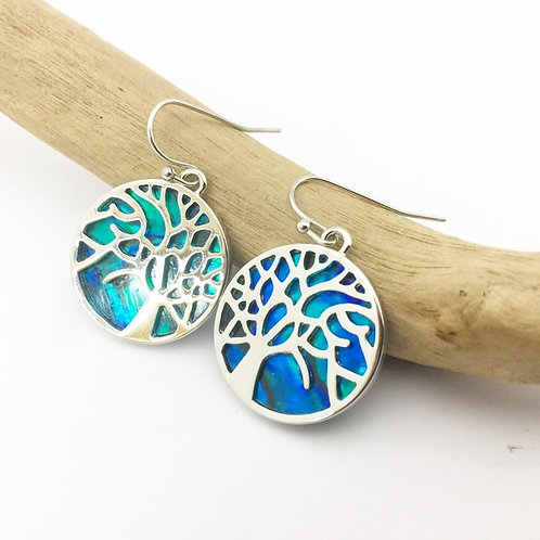 Marine Opal - Paua-Shell /Tree of Life round Earrings
