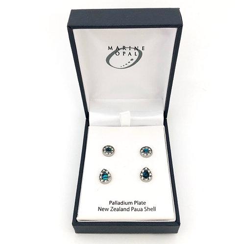 Marine Opal - Paua-Shell / 2 pairs Earrings / Palladium Plate