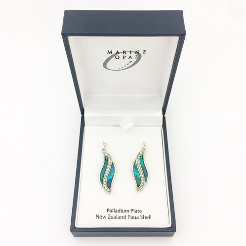 Marine Opal - Paua-Shell / Leaf crystal centre earrings  / Palladium Plated