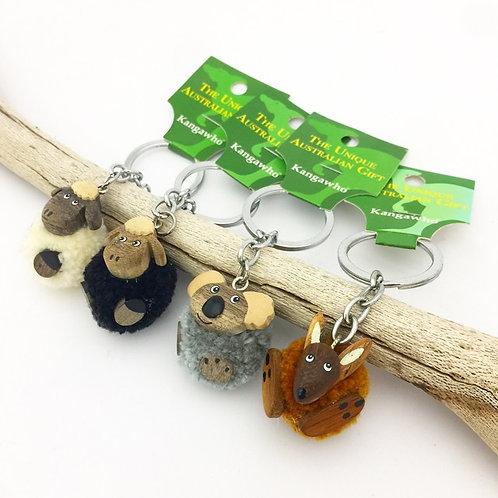 Mini pom pom keyring / Australian animals