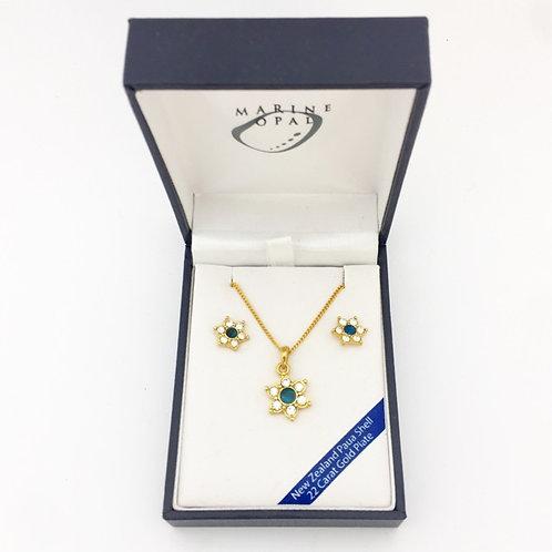 Marine Opal - Paua-Shell / Pendant & Earrings / 22 Carat Gold Plate