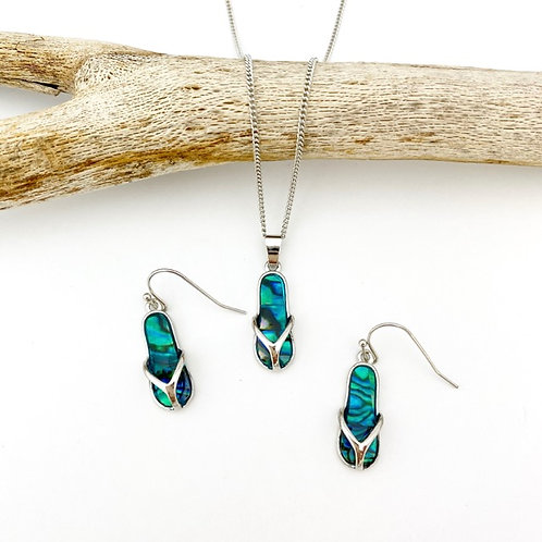 Marine Opal - Paua-Shell / Thongs Pendant and Earrings set
